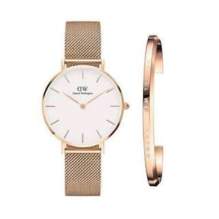 Daniel Wellington Classic Petite Melrose White Face Rosegold Watch with Cuff