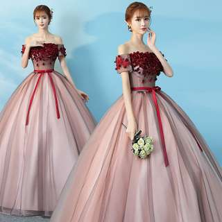 Gown Collection - Red Roses Design Off Shoulder Puffy Gown