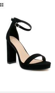 AS NEW NOVO BLACK SUEDE MAISEY STRAPPY HEELS 5 5.5 36
