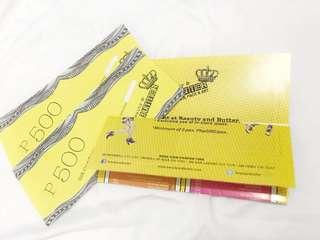 Beauty & Butter GC (Gift Cheques) 300 each