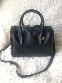 MCM Black Tina Boston Bag with Matte Gold Hardware Genuine Calfskin Leather Speedy Satchel with Detachable Shoulder Strap Doctor Tote Handbag Michael Cromer München (with FREE CHANEL perfume sample)