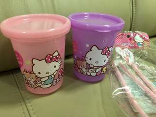Hello Kitty Cup/ tumbler with straw