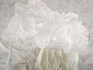 Dress & set atasan dan celana putih