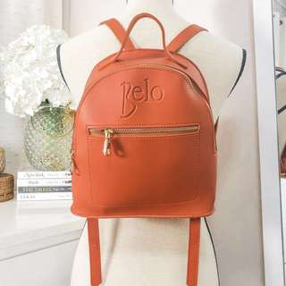 💛 Belo very cute backpack bag • high quality sturdy leather • orange and gold • adjustable straps • suede like lining