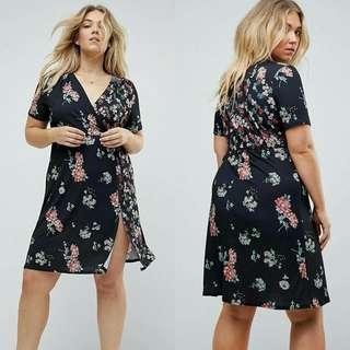 Overlap plus size dress