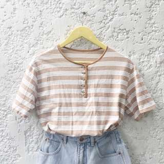 Vintage Beige Striped Top