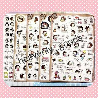 KAWAII KOREAN GIRLS STICKERS/DIARY PLANNERS STICKERS/DECO STICKERS/CUTE STICKERS