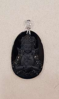 "18k white gold with diamonds 弥勒佛 Buddha Black Jade ""A"" Grade pendant"