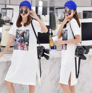 78960 #大碼寬鬆顯瘦中長款T恤裙   颜色:白色  尺码:4XL 3XL 2XL XL