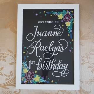 Custom Birthday Greeting Table Sign, Hand Drawn with Floral Design