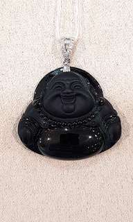 "18k white gold with diamonds 笑佛 Laughing Buddha Black Jade ""A"" Grade pendant"