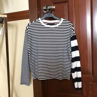 Topshop Mixed Stripe Long Sleeve Top