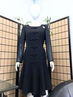 Little Black Dress in black silk crepe with sheer sleeves