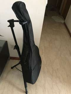Acoustic guitar with stand & bag