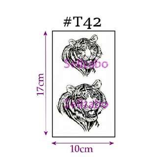 #T42 Fake Temporary Body Tattoo Stickers Washable Wash Off Print Sellzabo Patterns Designs Tatoo Tatto Tattoo Accessories Black Colour Fierce Animals Tigers 老虎 Harimau
