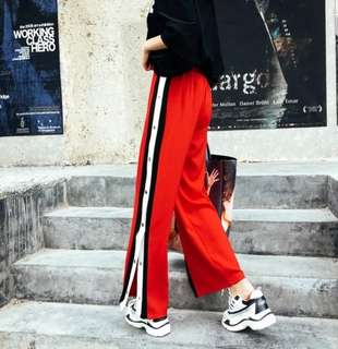 Red Black Stripes Patchwork Slit Pants