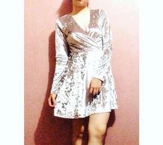 F21 Silver velvet dress