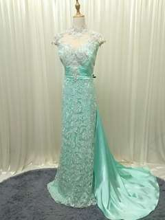 GREEN lace wedding gown bridal dinner dress (L to XL)