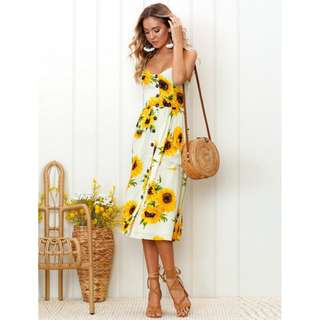 Floral Strap Long Dress 102419 FM*re-stocked*