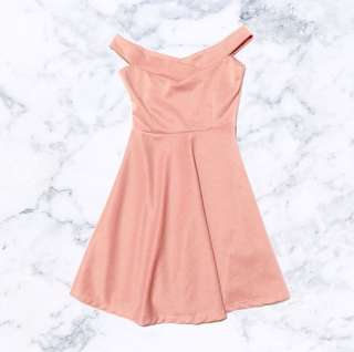 Nude pink off-shoulder dress