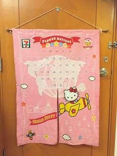 Hello Kitty x 7-11 花花襟章全套及粉紅色掛簾一幅,共38 個襟章,另有5個特別版