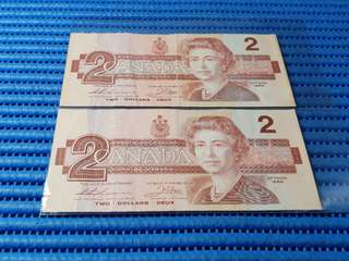 2X Canada $2 Two Dollars Note ( Lot of 2 Pieces )