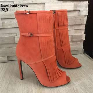Authentic GUCCI Orange Suede Becky Gladiator Peep To