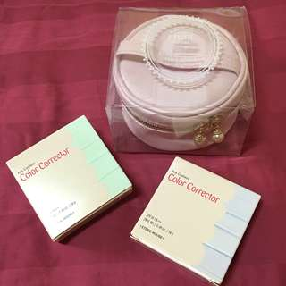 [BN] [Authentic] Whole Set Etude House Any Cushion Mint Color Corrector with Pouch