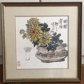 Home hanging Framed Painting Decor(Yellow flower in vase)
