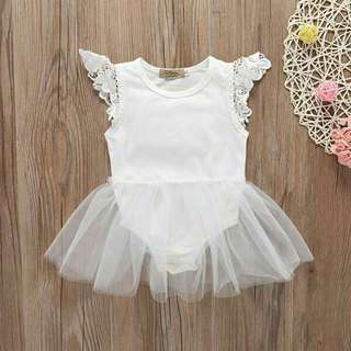Chic Lace Sleeves Tulle Bodysuit in White for Baby Girl