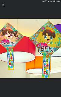 Boy or Girl  Children  Customised happy Birthday party decorations   HANGING ORNAMENT Can Be Pasted Onto Wall !