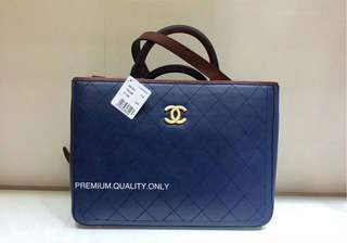 Chanel Bi Colour Hampton Bullskin Tote- blue