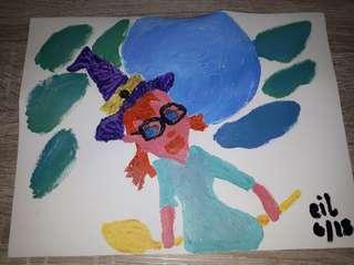Acrylic on canvas nerd witch
