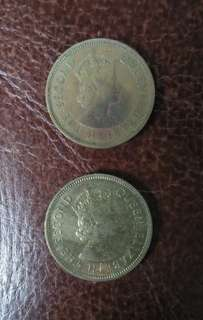 Hong Kong ten cents 1963 & 1975