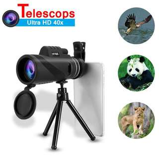 40x Ultra HD OutdoorMonocularTelescope With Clip + Tripod For Mobile Phone