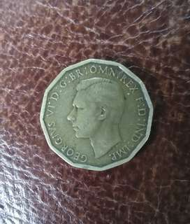 England three pence 1942