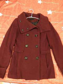 H&M 酒紅短版雙排扣大衣