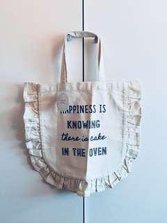 文青系荷葉邊簡單tote bag