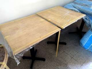 Square Table Wooden Top Metal Leg