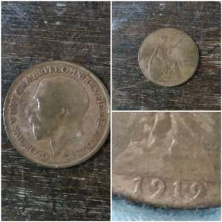England one penny 1919