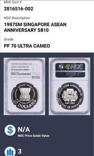 1987 Singapore asean anniversary $10 silver coin