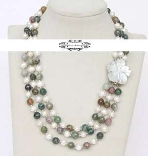 Multistrand Lustrous Genuine Round Pearls Multicolor Jade Necklace 多層真圓珍珠多彩玉石晶石項鍊