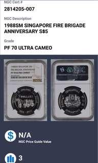 1988 Singapore fire brigade anniversary $5 silver coin