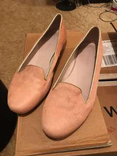Witchery pink pony hair leather loafers flats with gold trim Size 41