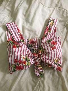 Red floral tie top