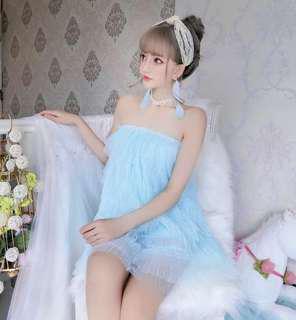 🚚 天藍色甜美蕾絲蛋糕裙