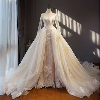 Wedding Collection - Noble Long Sleeves Long Tail Wedding Gown