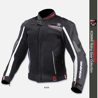 Komine JK-092 JK092 JK 092 R-spec racing riding touring jacket amoured back spine shoulder elbow mesh padded titanium