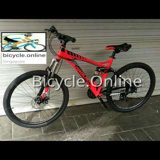 "26"" Full Suspension Aluminum Mountain Bike / MTB ☆ Shimano 21 Speeds, Disc Brakes ☆ Brand new CROLAN bicycle"