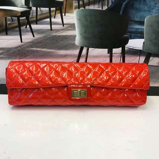 Chanel Red Patent Leather Flap Bag Purse Clutch Gold